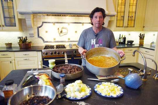 Herb Karlitz of Celebrity Chef Marketing shows how to make his mother's recipe of chopped liver at his home in Demarest on April 9, 2019.