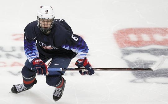 Jack Hughes #6 of United States skates against Slovakia during the IIHF World Junior Championships at the Save-on-Foods Memorial Centre on December 26, 2018 in Victoria, British Columbia, Canada.
