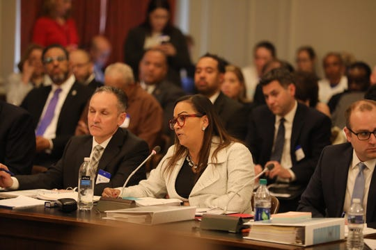 Schools Development Authority CEO Lizette Delgado-Polanco testifies about her department in front of the Assembly Budget Committee on April 10, 2019.