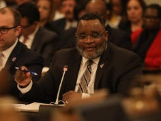NJ Department of Education, Commissioner Dr. Lamont Repollet testifies in front of the Assembly Budget Committee .