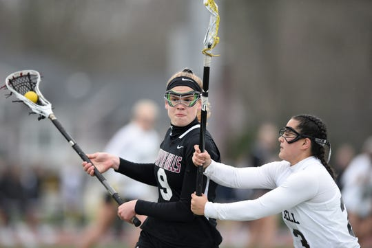 River Dell and Wayne Hills girls lacrosse played on Tuesday, April 9, 2019 in Oradell.  Ella Harris #9.