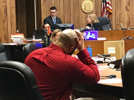 Michael Mitchell, on trial for attempted murder, with a head wound that required five stitches. Mitchell slipped and fell in the Passaic County Jail, the judge said. April 10, 2019