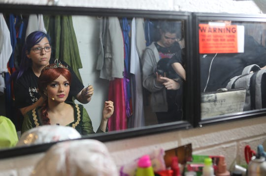 Hair and Makeup Coordinator Victoria Canal and Rachel Zegler are reflected in a mirror before dress rehearsal of 'Shrek The Musical'. Tuesday, April, 9, 2019