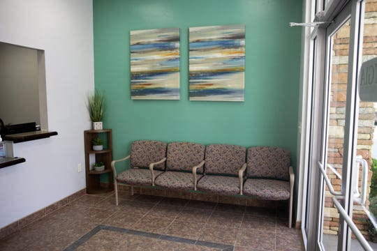 The front lobby at Hygia Pain Institute does not include a television or piped-in radio. Seen on April 10, 2019.