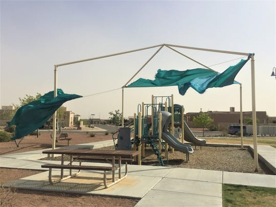 Strong winds blew off a canopy at a playground in the Miramar Arc and Sonoma Ranch area Wednesday, April 10, 2019.