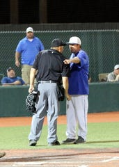 Carlsbad coach Alan Edmonson argues a call with an umpire during the April 9 game between Artesia and Carlsbad. Edmonson pleaded his case and was not tossed from the game because he knew to respect the umpire and not get physical. It may seem like common sense, but many little league parents believe full-on violence with an umpire is an acceptable way to argue a call.