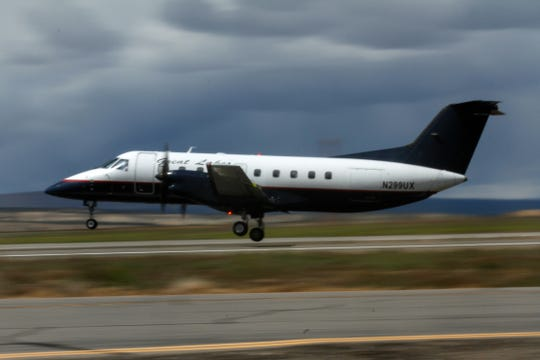 A Great Lakes Airline takes off for Denver on May 18, 2017, at the Four Corners Regional Airport in Farmington, New Mexico.