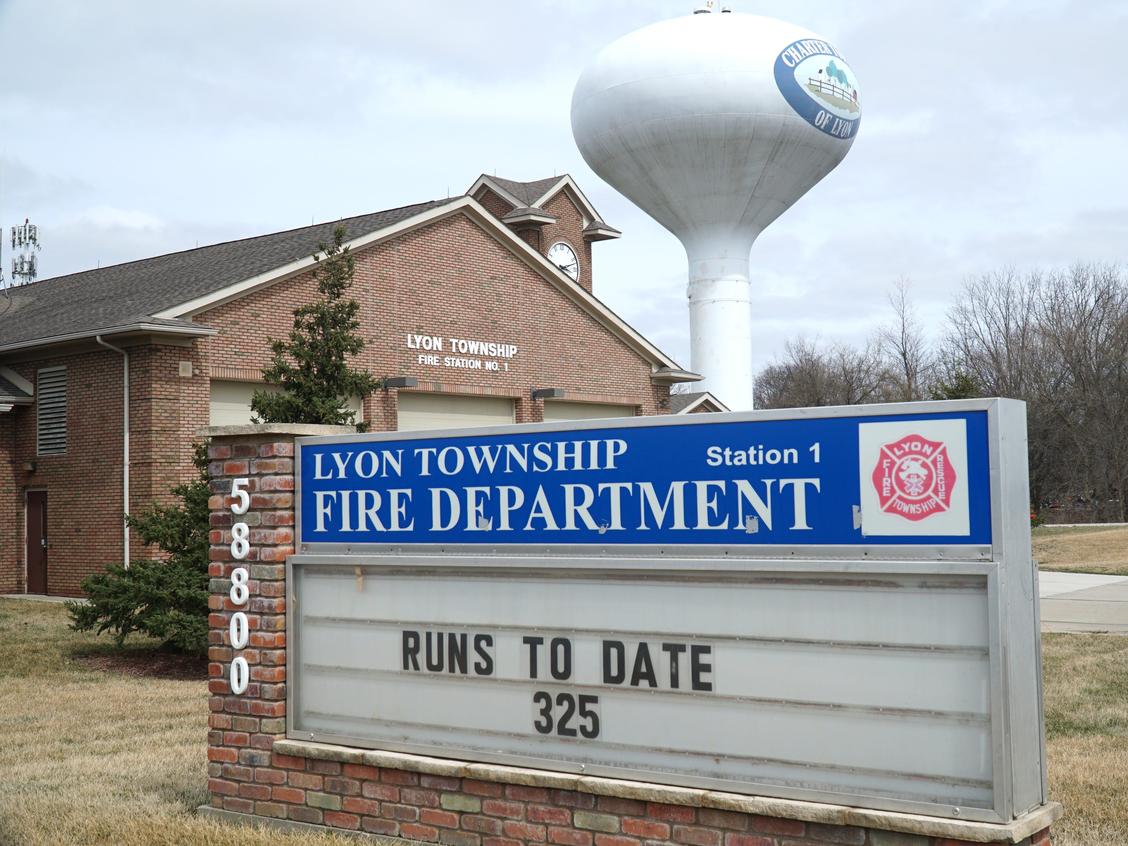 Lyon Township's Fire Station No. 1 on Grand River in New Hudson.