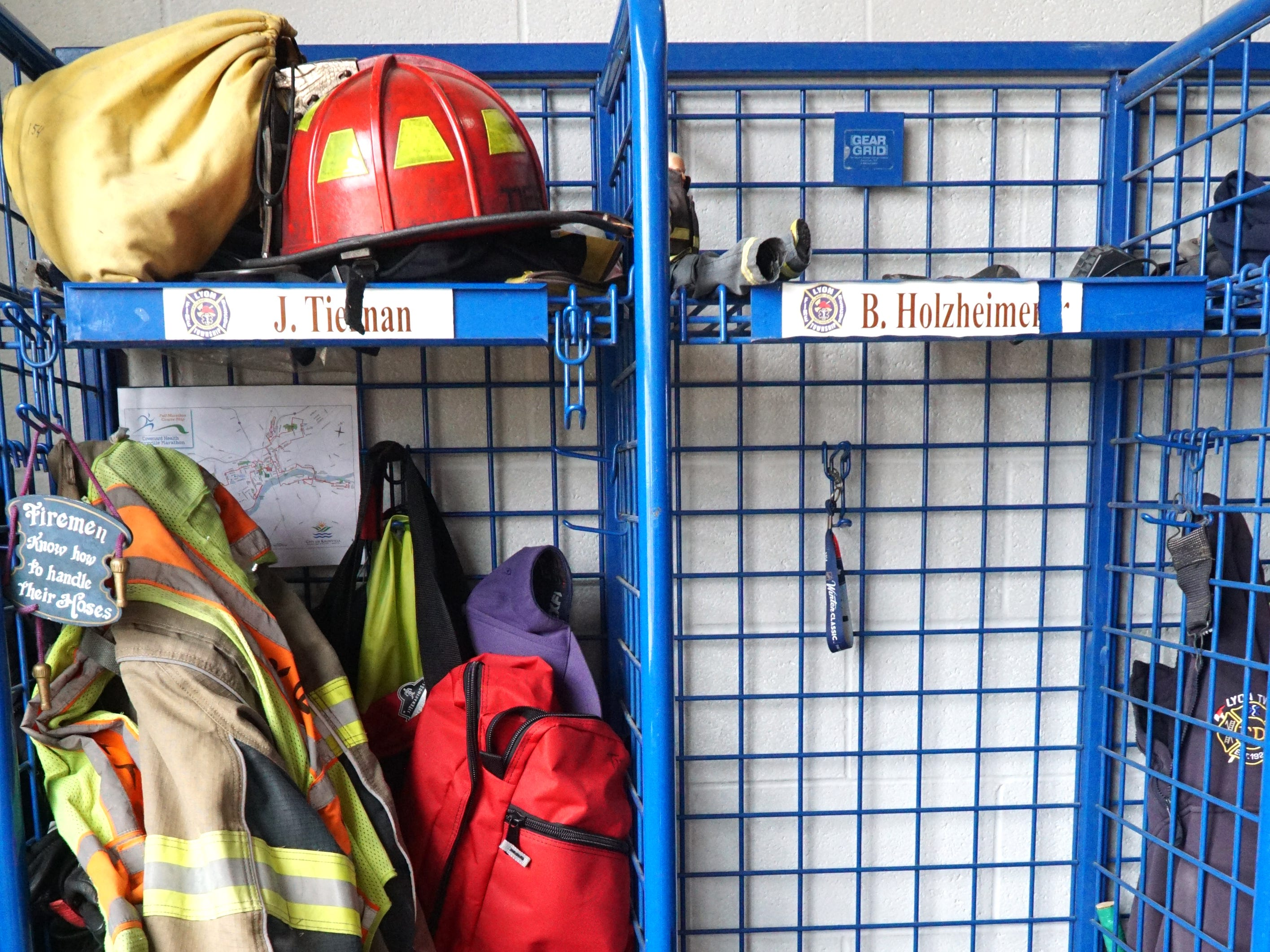 A firefighter's turn-out gear at the Lyon Township Fire Station No. 1.