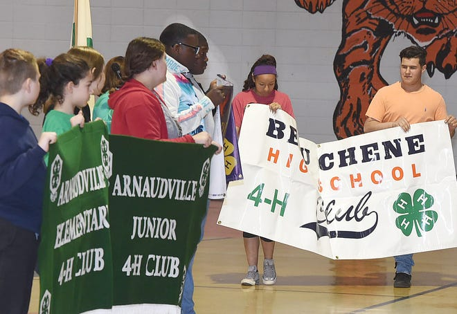 The parade of banners opens up the annual St. Landry Parish 4-H Achievement Day held recently at Opelousas High School.