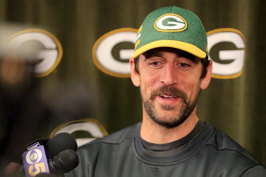 Green Bay Packers quarterback Aaron Rodgers speaks to members of the media at Lambeau Field on Wednesday, April 10, 2019 in Green Bay, Wis.