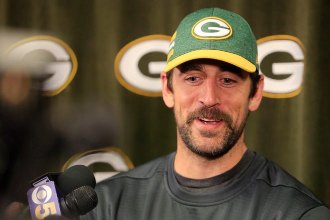 Green Bay Packers quarterback Aaron Rodgers speaks to members of the media at Lambeau Field in April 2019.