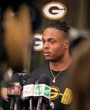 Packers wide receiver Davante Adams speaks to the media at Lambeau Field in April.