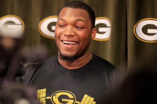 Green Bay Packers defensive tackle Kenny Clark speaks to members of the media at Lambeau Field on Wednesday, April 10, 2019 in Green Bay, Wis.