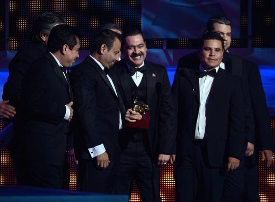 Los Tucanes de Tijuana accepts the award for Best Norteno Album during the 13th annual Latin GRAMMY Awards held at the Mandalay Bay Events Center on Nov. 15, 2012, in Las Vegas.
