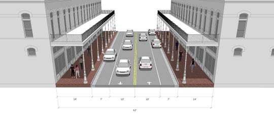 A conceptual example of an option proposed for De Villiers Street at Community Maritime Park under the West Main Master Plan.