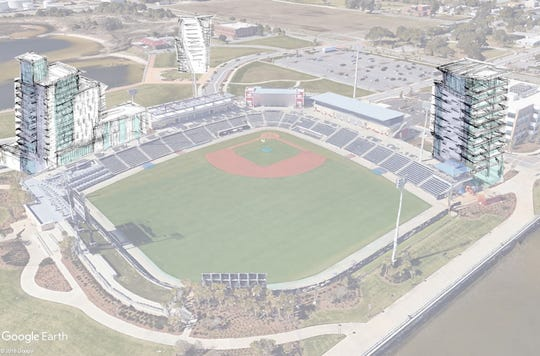 A conceptual example of luxury towers at Blue Wahoos Stadium under the West Main Master Plan.