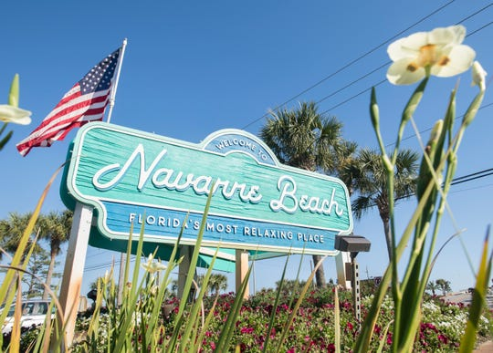 Welcome sign in Navarre on Wednesday, April 10, 2019.