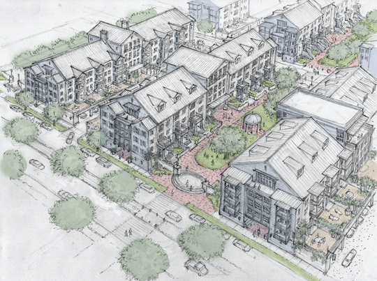 A conceptual example of different types of residential apartments that could be developed at the former Emerald Coast Utilities Authority sewage treatment facility.