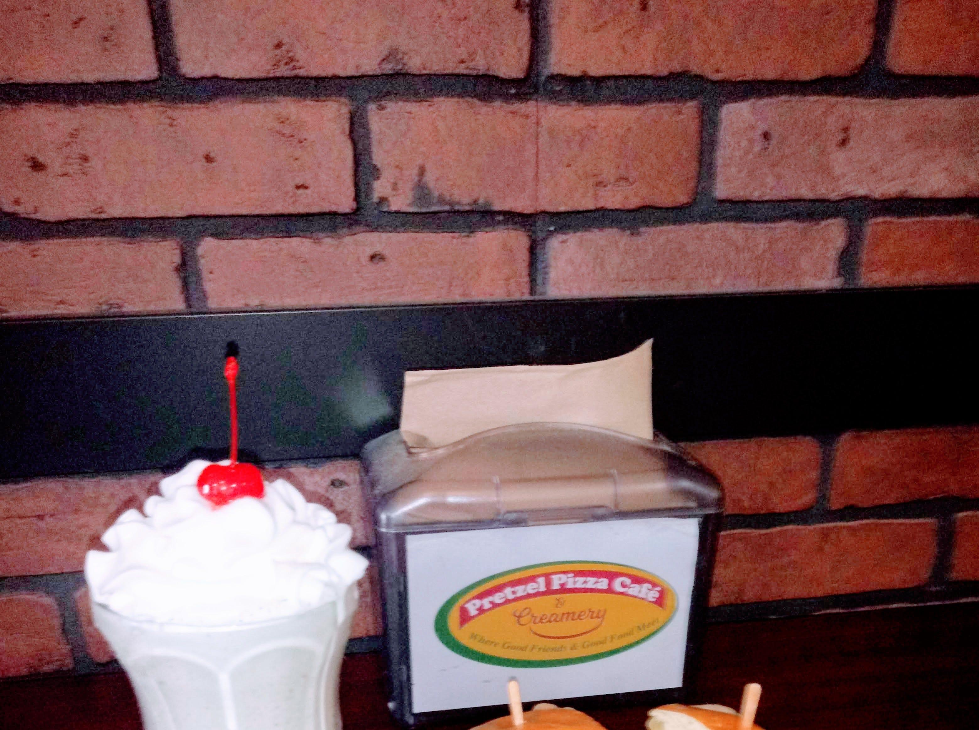 A pretzel sandwich with a milk shake from the Pretzel Pizza Cafe & Creamery on Frederick Street.