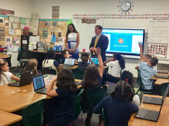 Gov. Doug Ducey answers questions from students at Paseo Pointe Elementary School in Laveen on April 9, 2019.