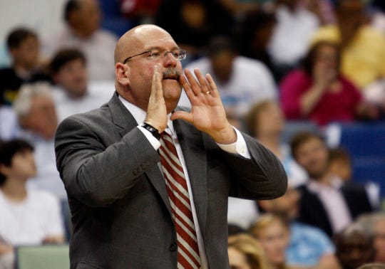 New Orleans Hornets head coach Jeff Bower reacts during the first half against the Utah Jazz at the New Orleans Arena.
