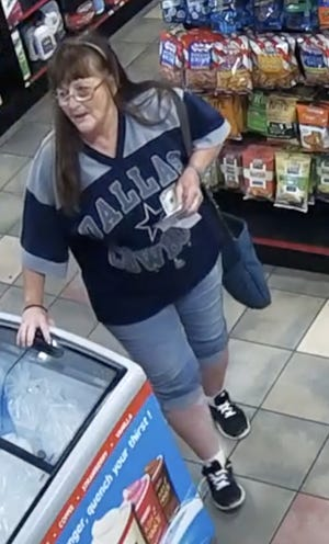 Bonnie Webb, 64, spotted on surveillance camera at a gas station.