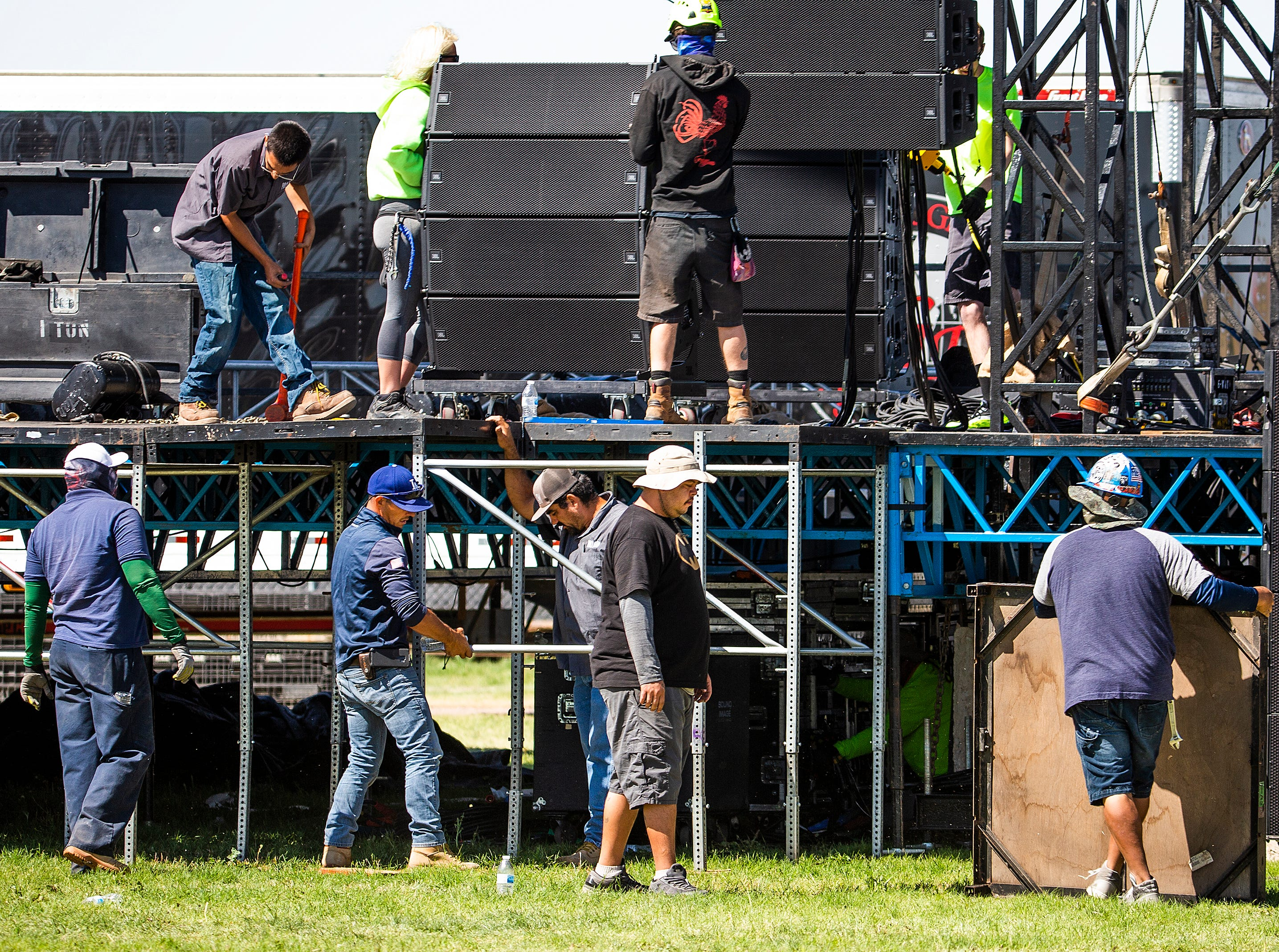 Construction continues on the stage at the Country Thunder Arizona 2019 music festival outside Florence April 10, 2019.