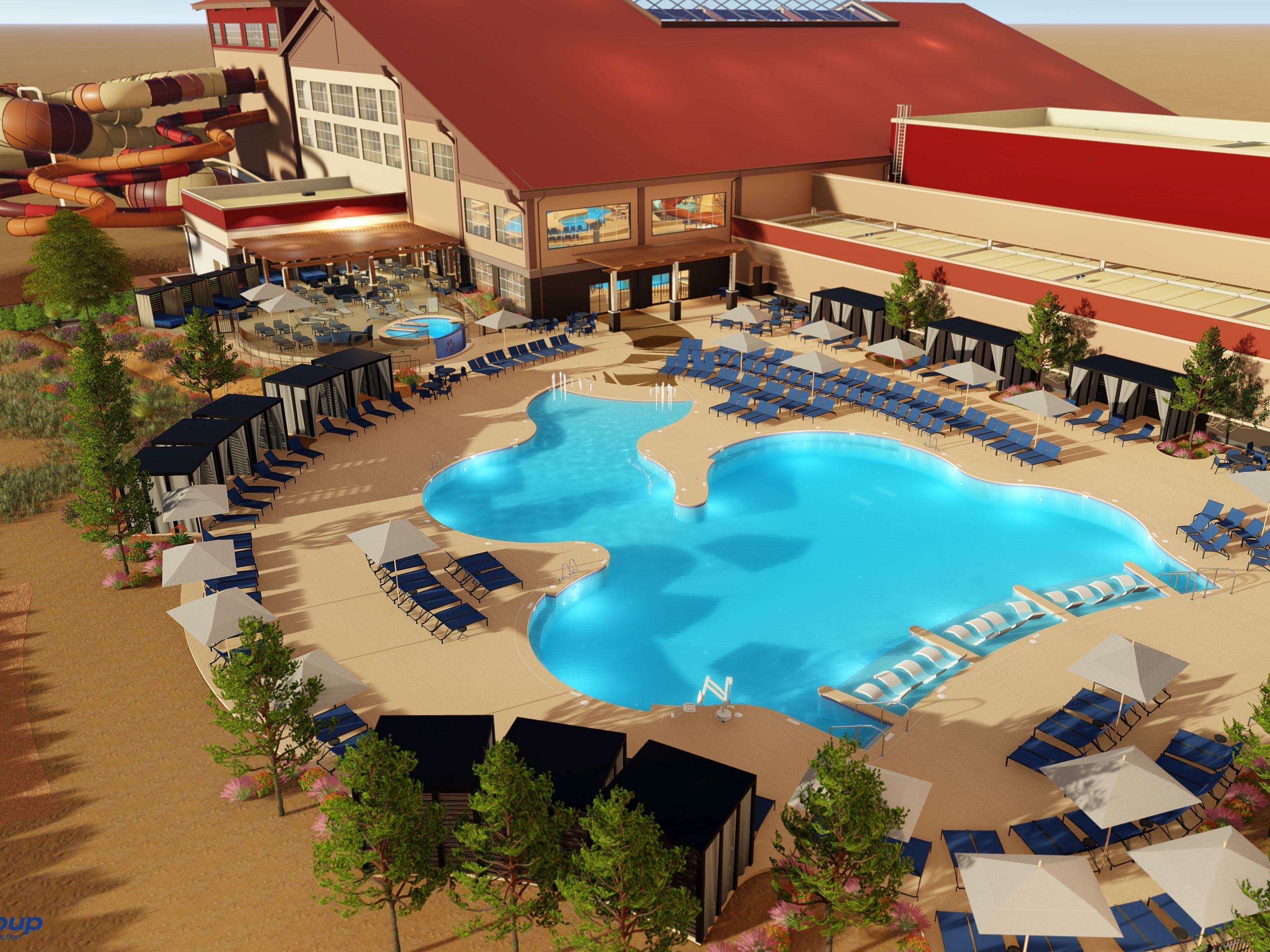 """The outdoor pool area of the Great Wolf Lodge Arizona will have cabanas. There is also a separate """"adults only"""" area with a hot tub."""