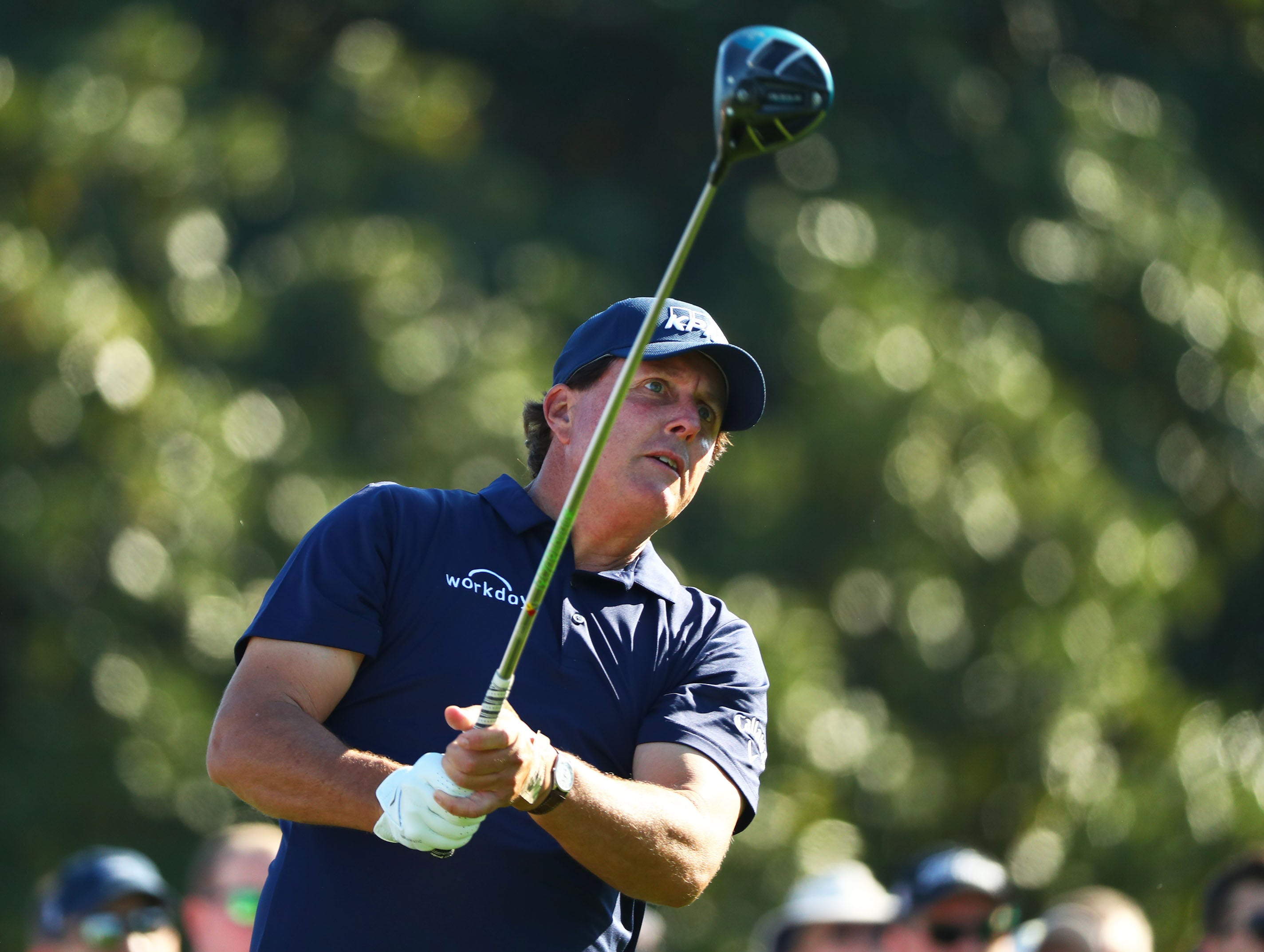 Apr 10, 2019; Augusta, GA, USA; Masters champion Phil Mickelson plays his drive at the 10th hole during a practice round for The Masters golf tournament at Augusta National Golf Club. Mandatory Credit: Rob Schumacher-USA TODAY Sports