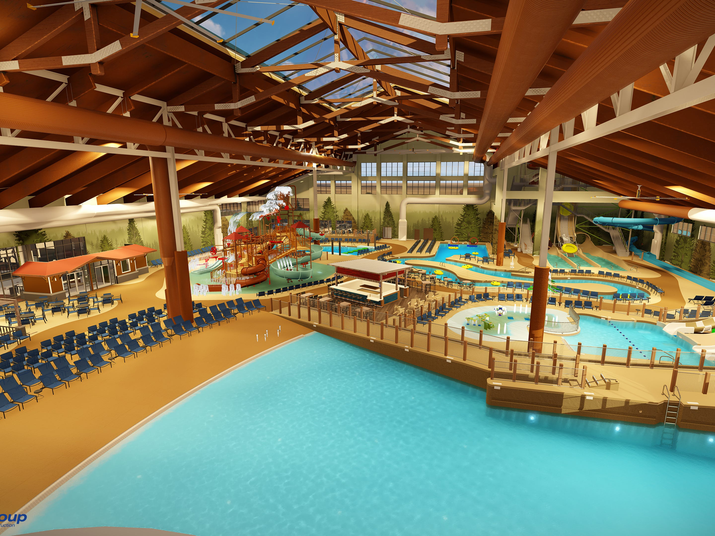 """A rendering of the inside of the Great Wolf Lodge Arizona's water park. The 85,000 square foot facility will be climate controlled at 84 degrees and host several slides, raft rides, a wave pool and an area especially for kids under 42"""" tall."""