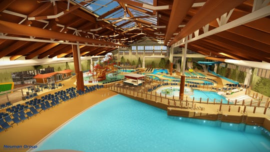 "A rendering of the inside of the Great Wolf Lodge Arizona's water park. The 85,000 square foot facility will be climate controlled at 84 degrees and host several slides, raft rides, a wave pool and an area especially for kids under 42"" tall."