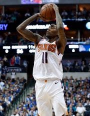 Phoenix Suns guard Jamal Crawford shoots during the first half of the team's NBA basketball game against the Dallas Mavericks in Dallas, Tuesday, April 9, 2019.