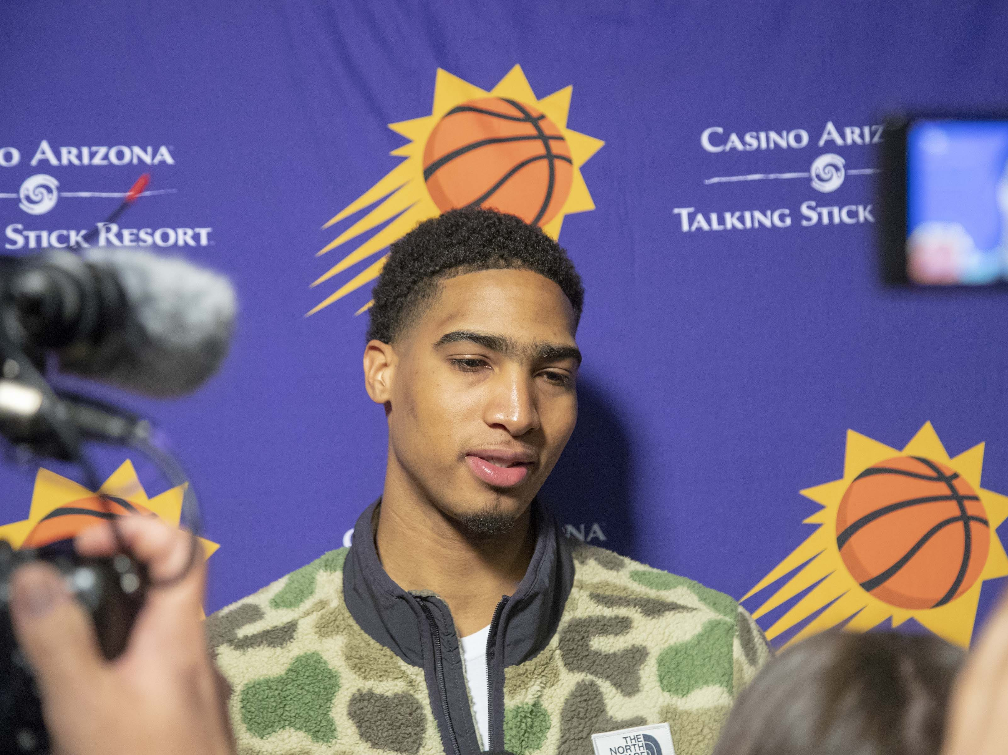 Ray Spalding answer questions during the Suns' exit interviews on April 10.