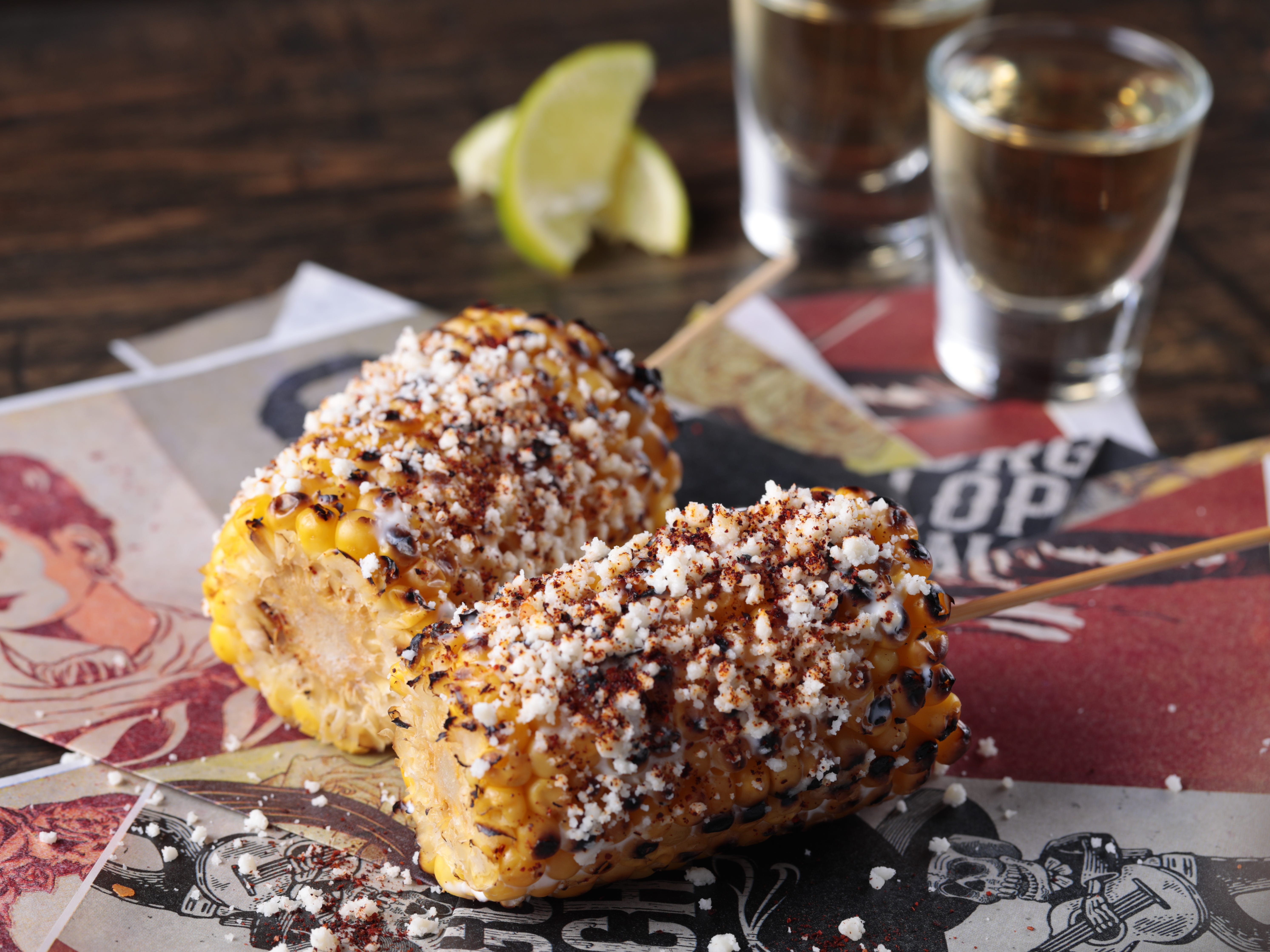 The elote street corn at George Lopez's Chingon Kitchen at Vee Quiva Hotel & Casino.