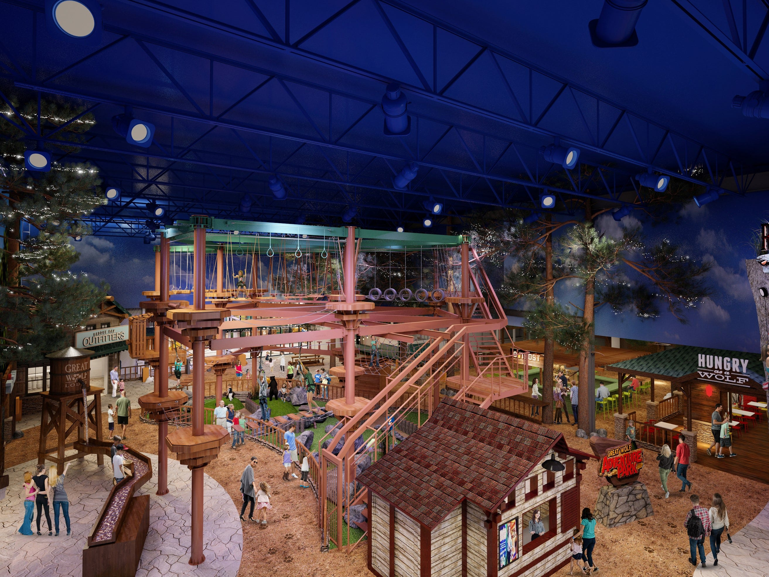 The Adventure Park is the dry portion of the activities at the Great Wolf Lodge Arizona. It has a ropes course, climbing wall, mini golf,  and bowling.