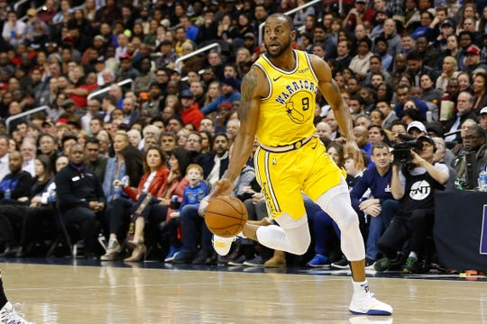 Andre Iguodala brings the ball up the court during a game against the Wizards on Jan. 24.
