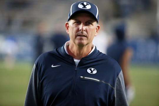 Brigham Young Cougars assistant coach Ty Detmer looks on before the game against the Boise State Broncos at LaVell Edwards Stadium in 2017.