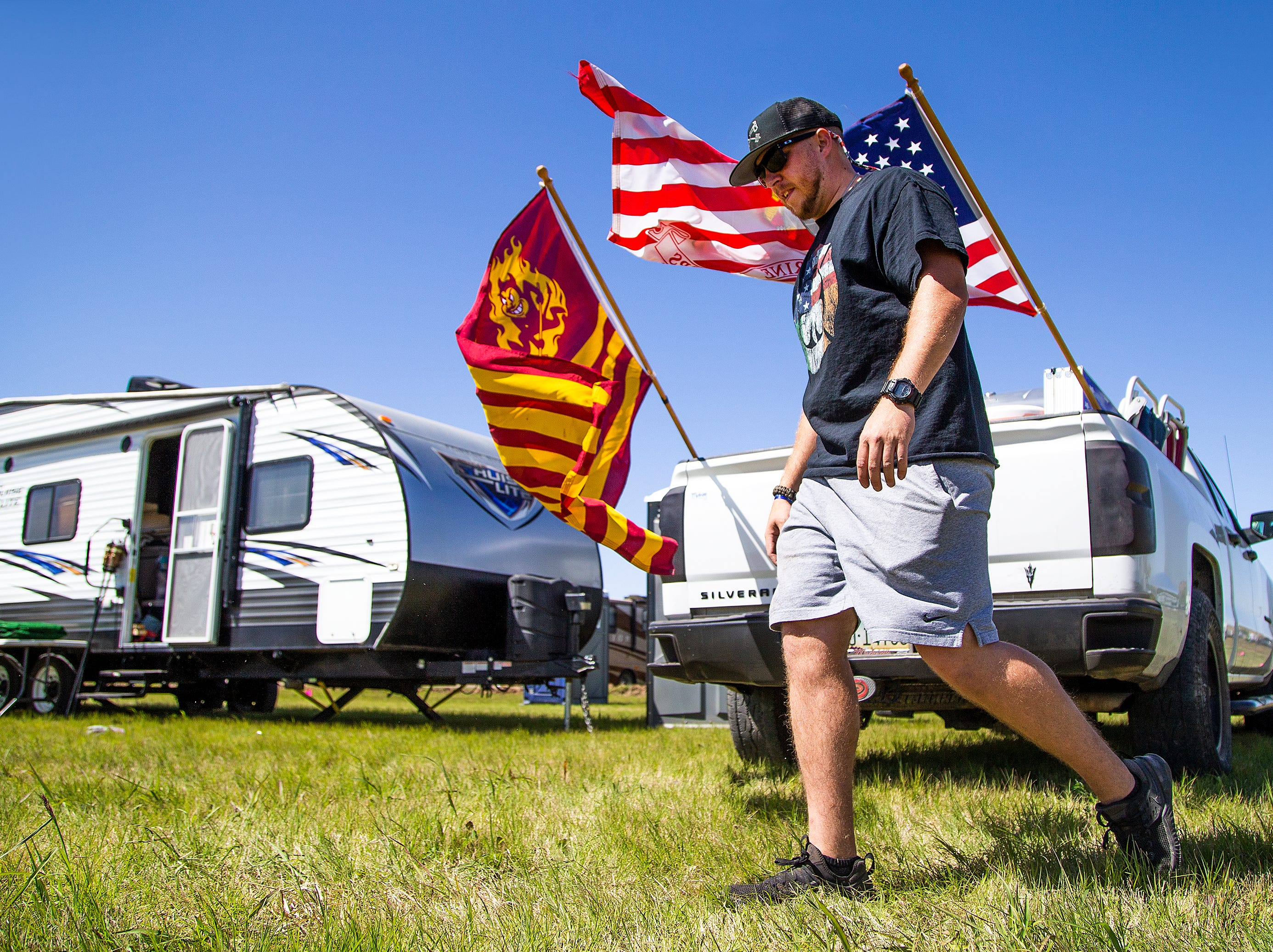 Kyle Billingsley, 28, of Phoenix, arrives at his camping spot at the Country Thunder Arizona 2019 music festival outside Florence April 10, 2019.