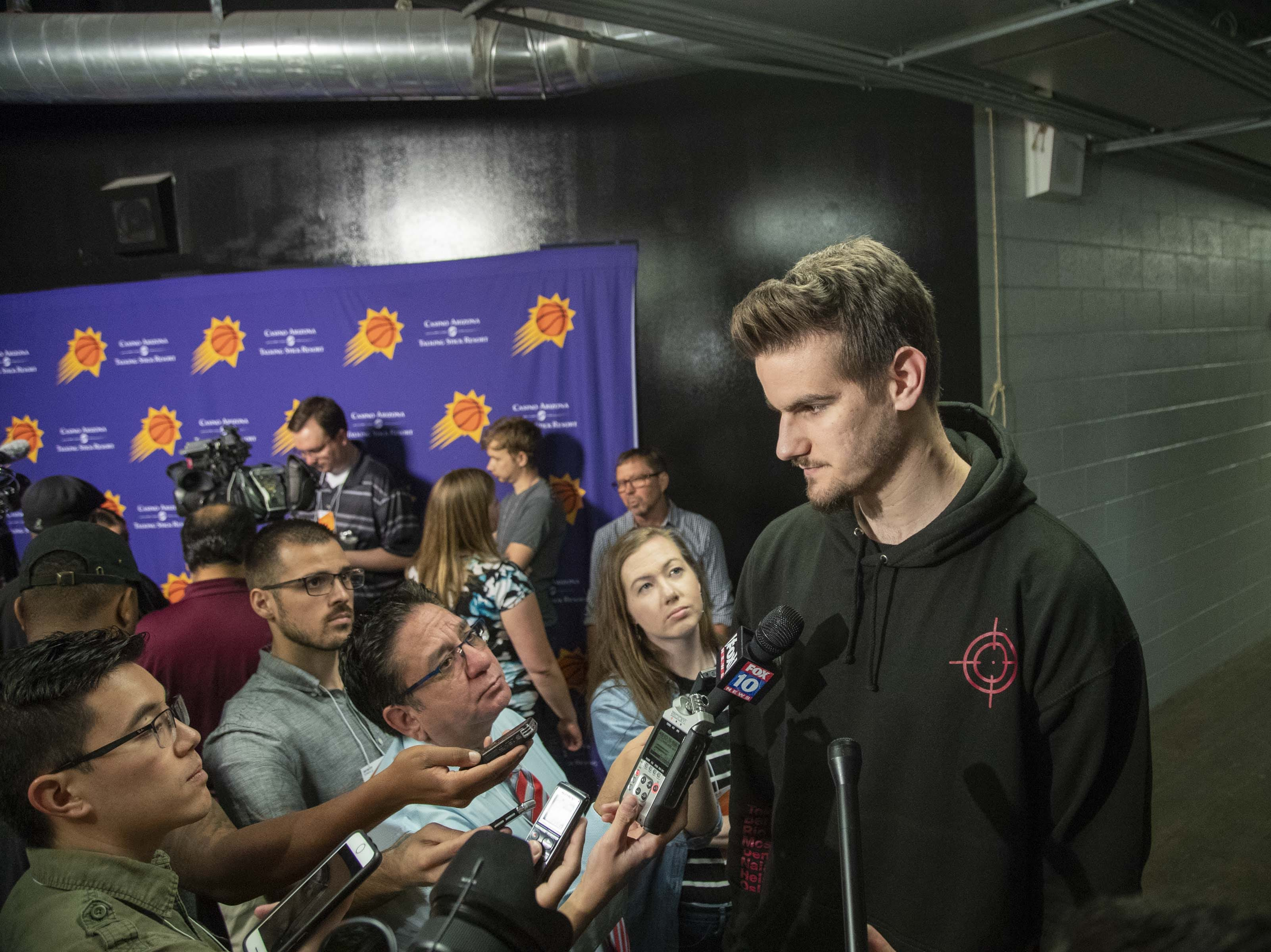 Dragan Bender talks to media after following the end of the Suns' 2018-19 season.