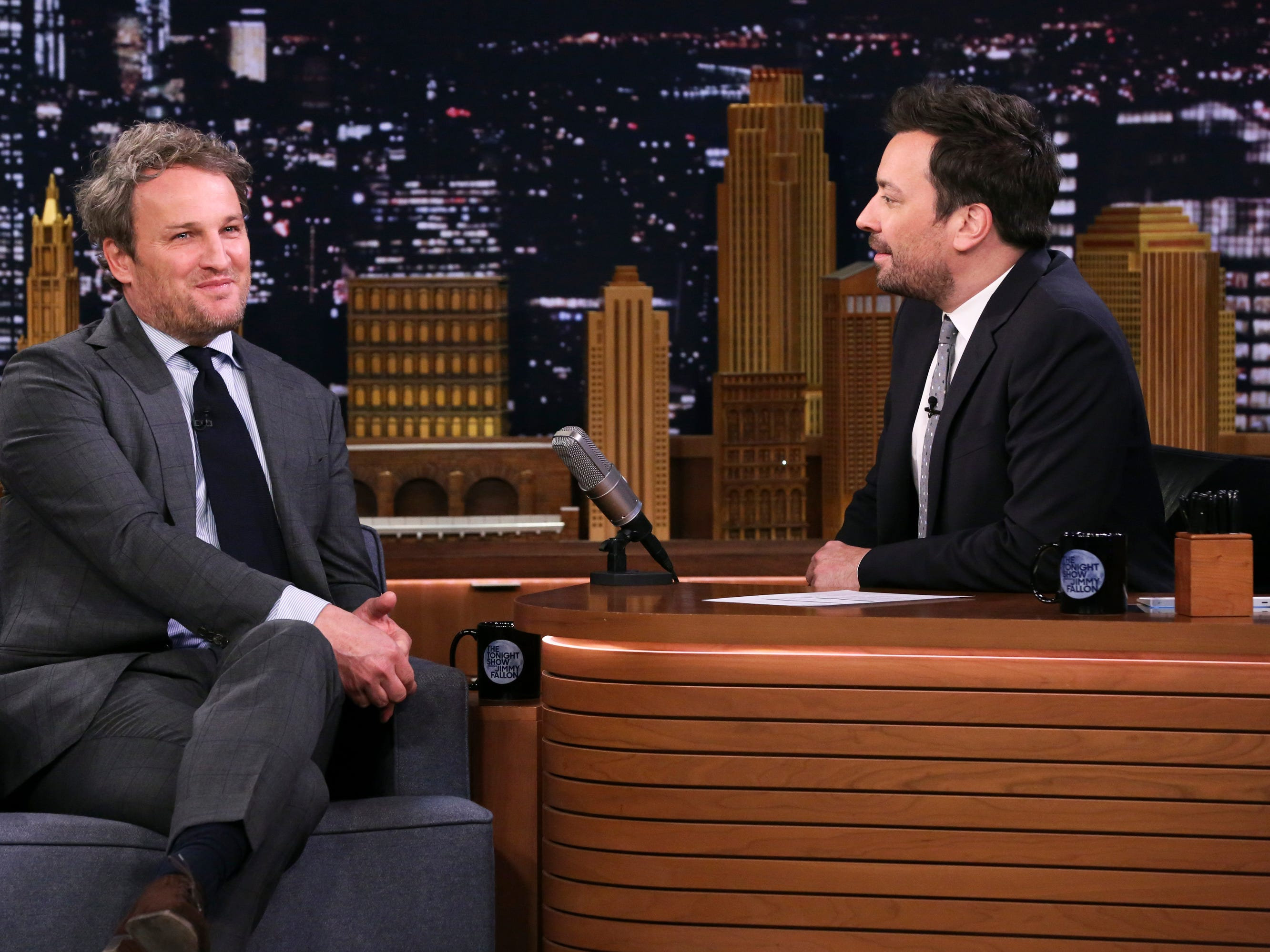 "An ailing Jason Clarke appears on the ""The Tonight Show Starring Jimmy Fallon"" on April 5, 2019. The star jokes that he sounded jokes that he sounded liked he ""smoked 20 packs of Marlboro Reds."""
