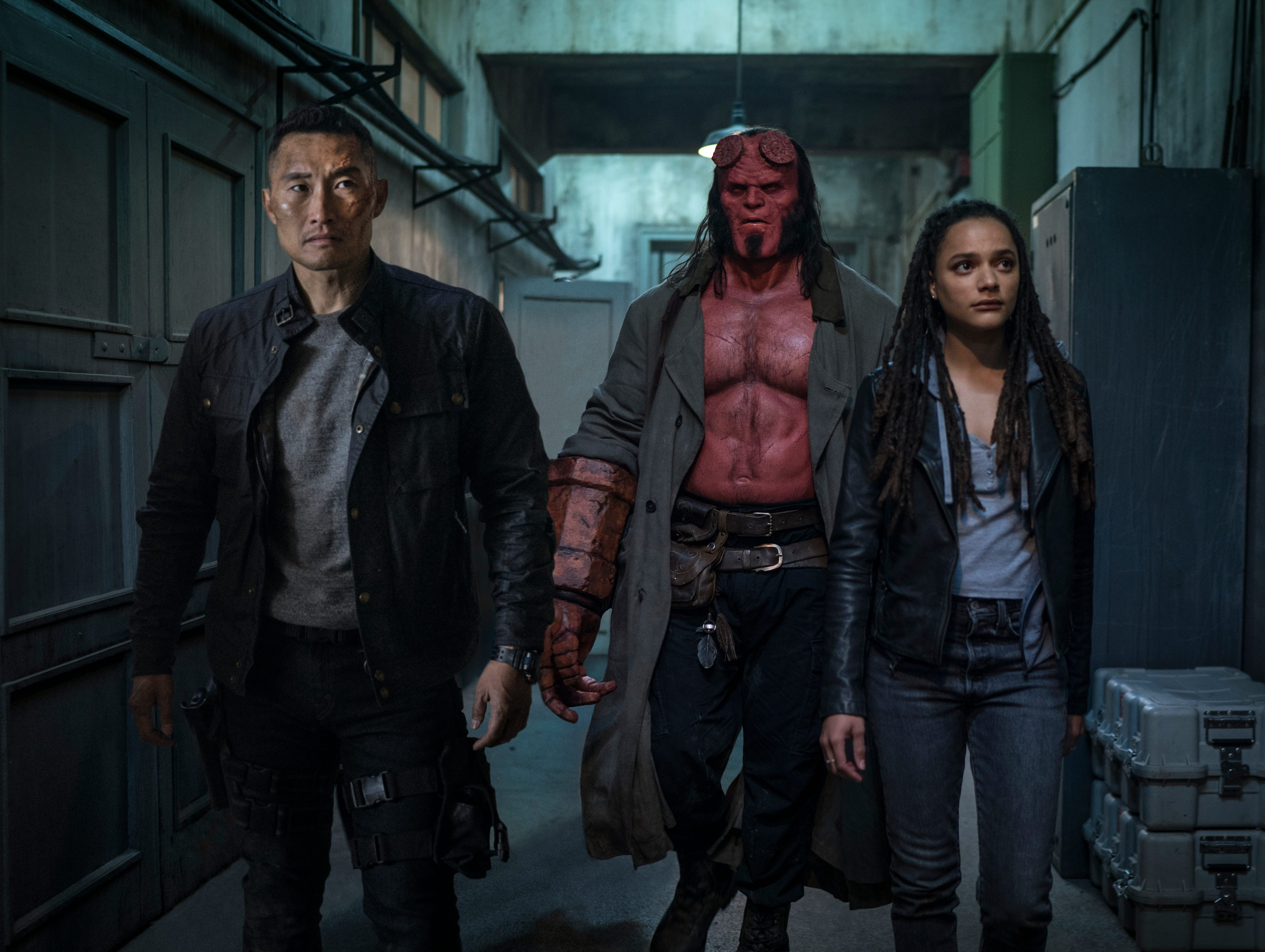 Left to right, Daniel Dae Kim, David Harbour and Alice Monaghan star in 'Hellboy.'