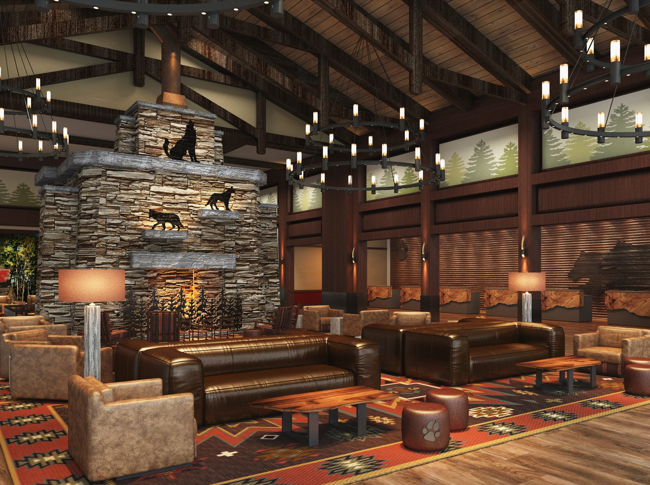 The lobby of the Great Wolf Lodge Arizona.