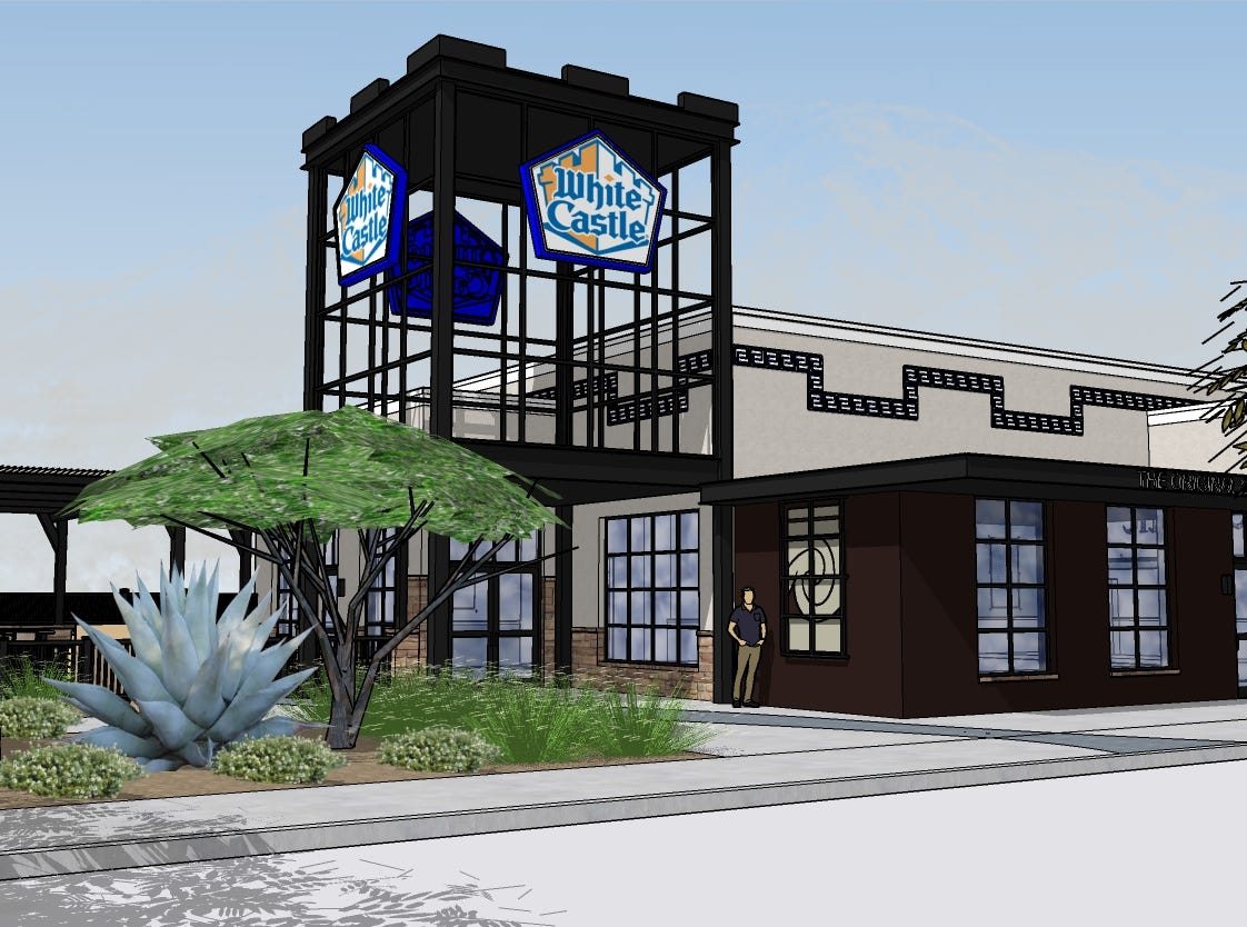 A rendering of White Castle's first Arizona restaurant, expected to open at 9310 East Via de Ventura in the Salt River Pima-Maricopa Indian Community's Talking Stick Entertainment District in fall 2019.