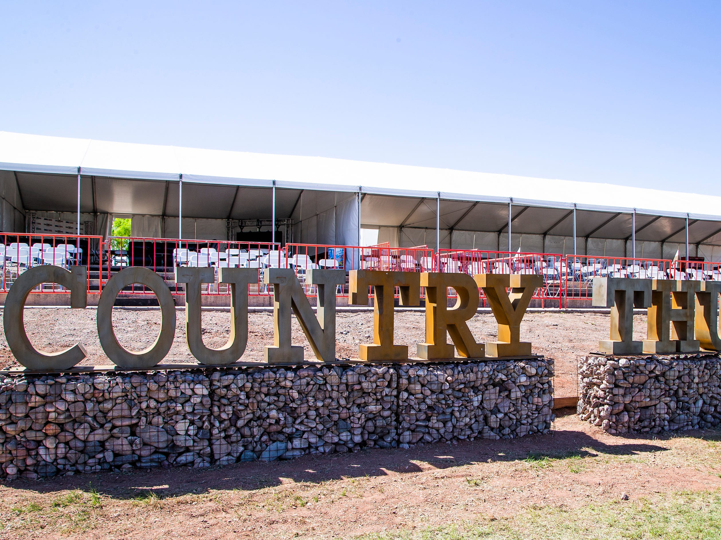 The VIP area is set up near the stage at the Country Thunder Arizona 2019 music festival outside Florence April 10, 2019.
