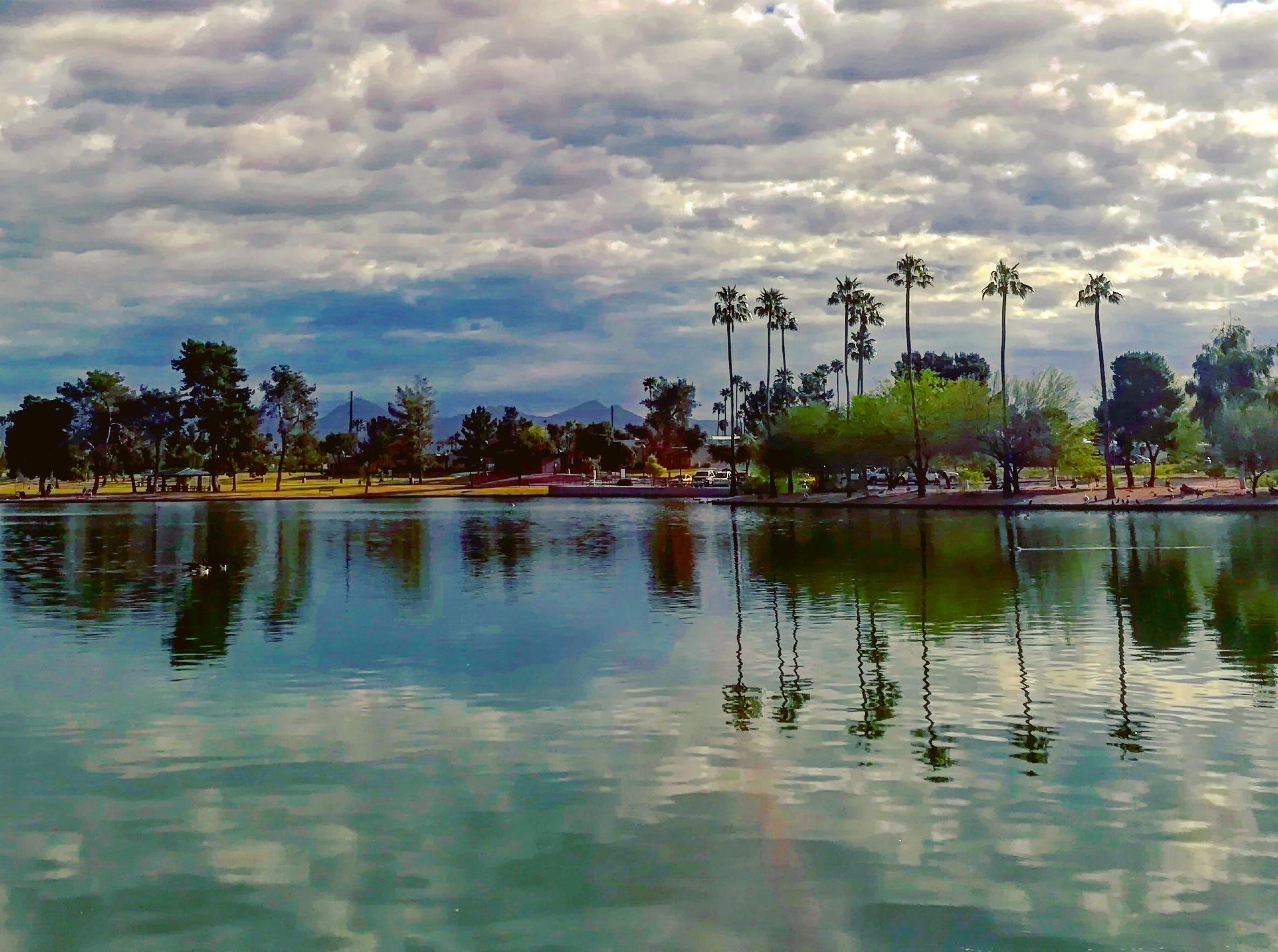 Early morning at Chaparral Lake, Scottsdale.