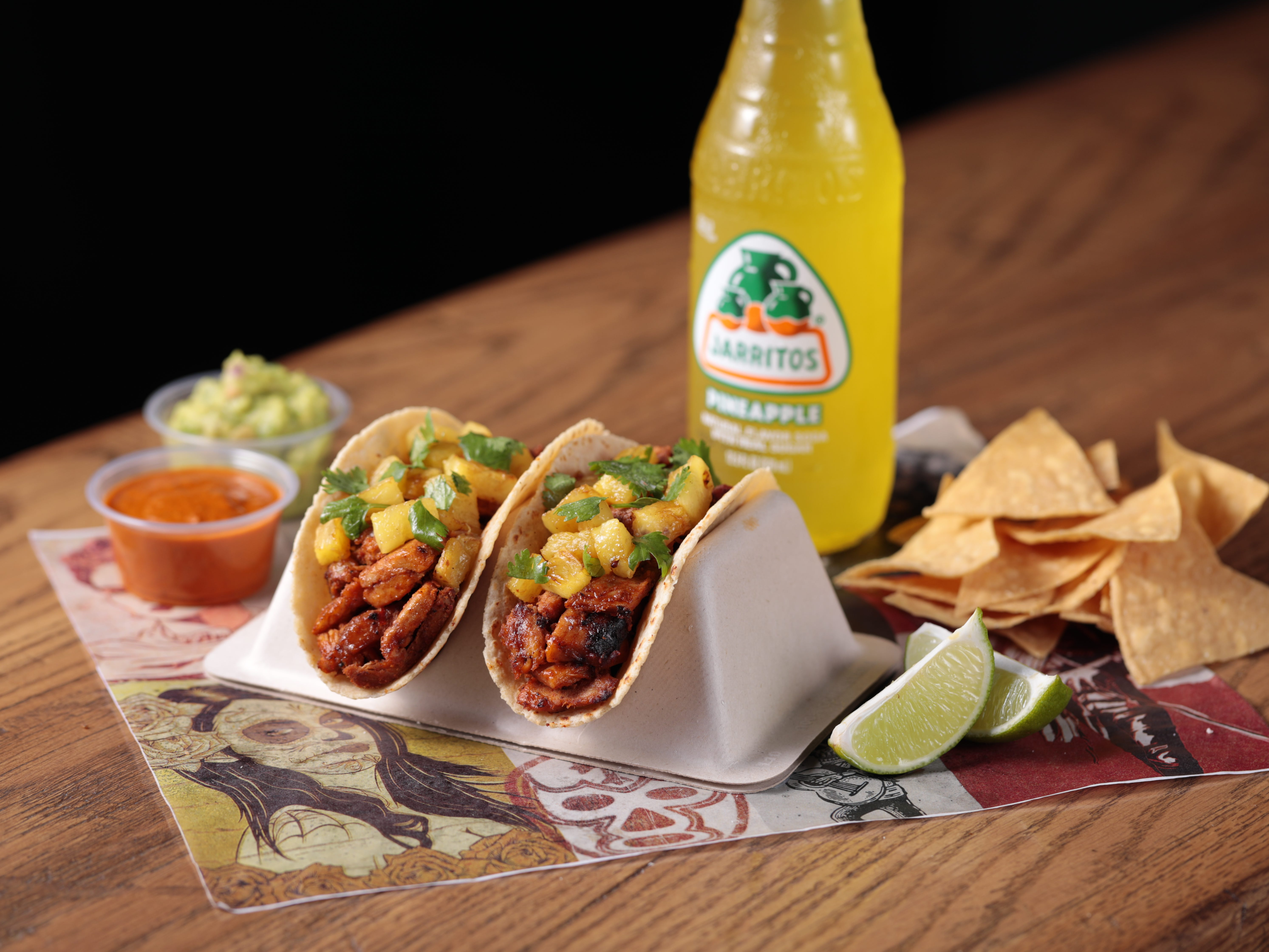 The taco duo is among the customizable dishes at the fast-casual George Lopez's Chingon Kitchen at Vee Quiva Hotel & Casino.