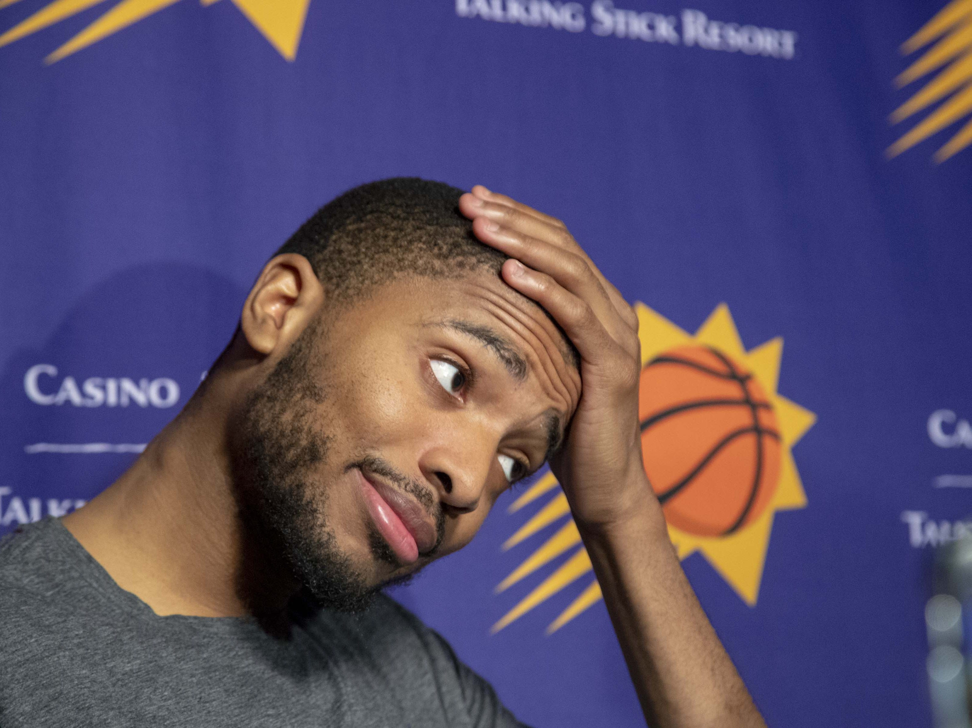 Mikal Bridges averaged 8.3 points with 3.7 rebounds and 1.6 steals per game his rookie season with the Suns.
