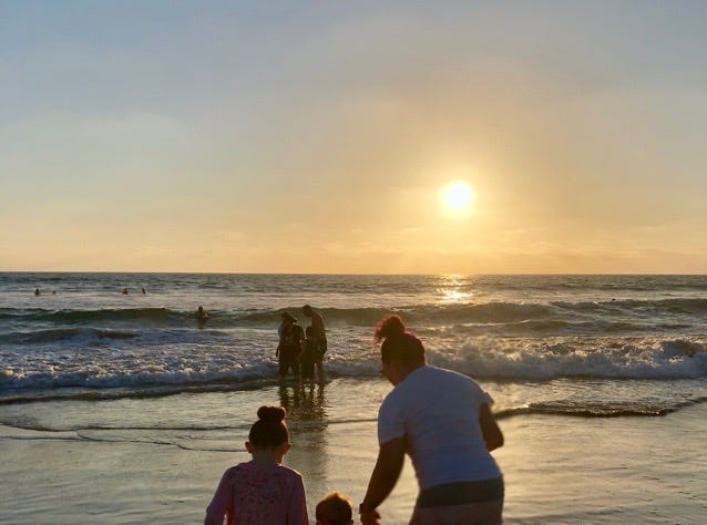 Mandy Bissey plays with her children Isabella and Atticus in San Diego. After marrying at Country Thunder in 2018, Mandy and her husband Michael Bissey took their kids with them on their San Diego honeymoon.