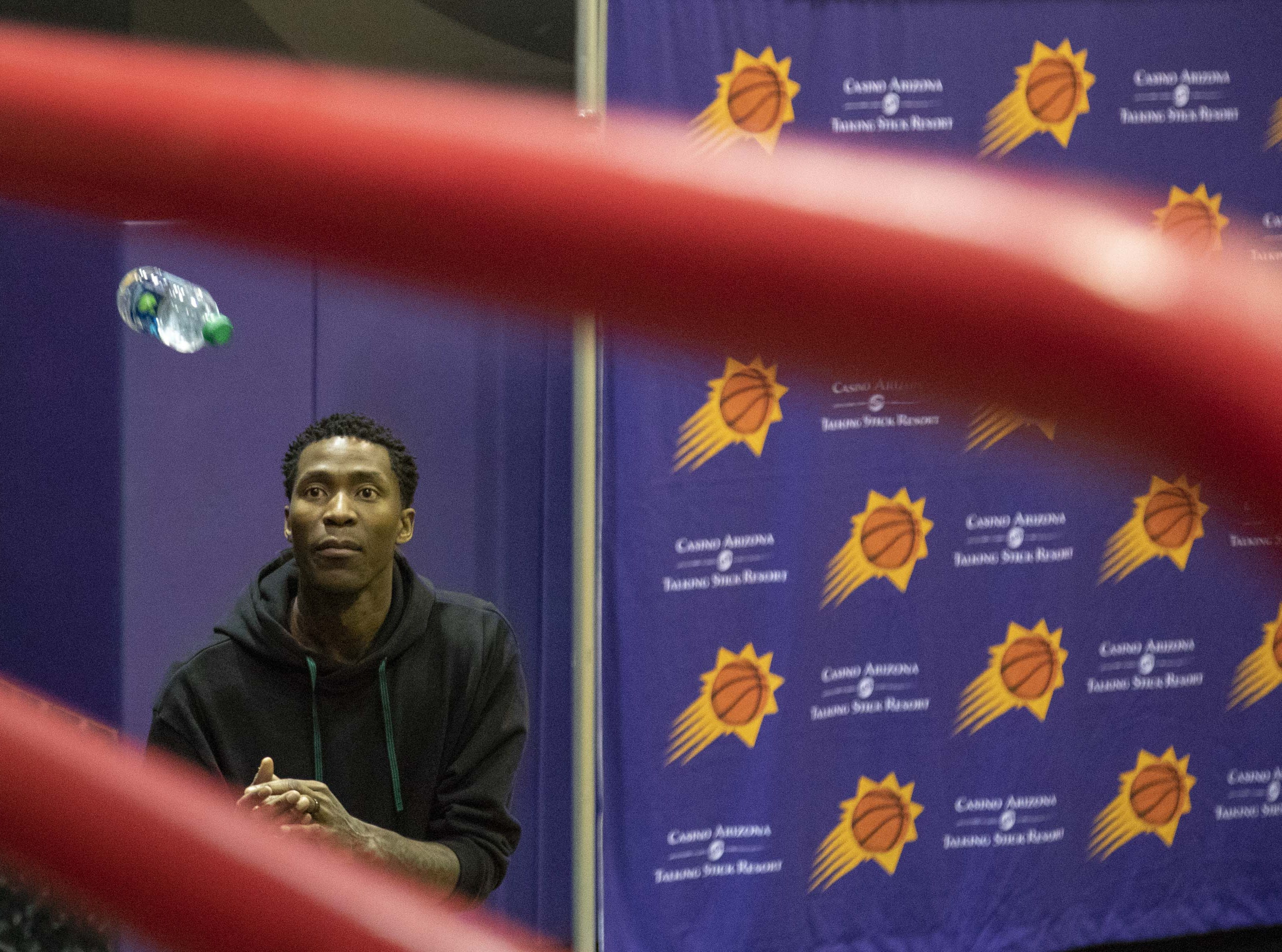 Jamal Crawford is seen during the Suns' exit interviews on April 10 at Talking Stick Resort Arena.